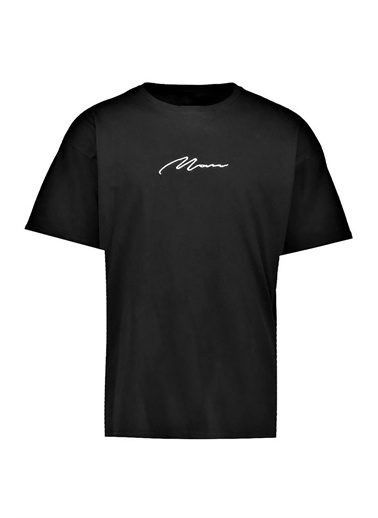 Oksit Man Imza Detaylı Oversize T-Shirt Siyah